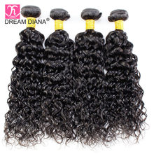 DreamDiana Brazilian Water Wave 4 Bundles 100% Human Hair Weave For Black Woman Natural Color Remy Hair Weft Express Shipping(China)