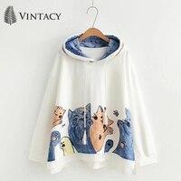 2018 Hot Autumn Casual Hoodies Women White Loose Cat Print Hooded Tops Patchwork Japanese Mori Girl Preppy Hoodie Sweatshirt