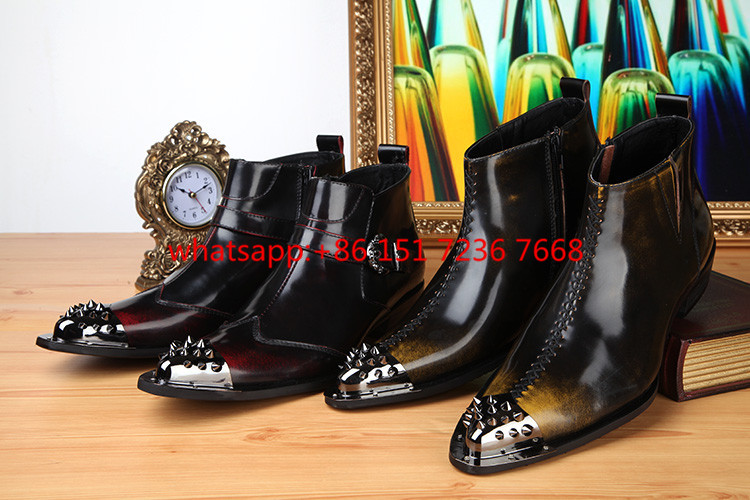 Plus Size 2017 New Genuine Leather Formal Man Ankle Boots Men's Pointed Toe Motorcycle Punk Rock Rubber Shoes Plus size US12 plus size 2016 new formal brand genuine leather high heels pointed toe oxfords punk rock men s wolf print flats shoes fpt314