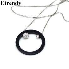 Длинное ожерелье с крупным круглым кольцом для женщин Геометрическая