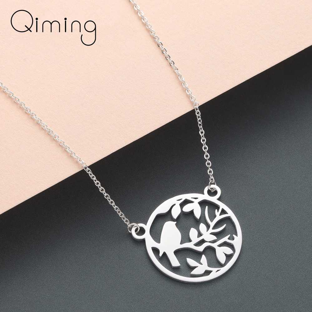 Retro Ethnic Bird Necklace Round Branch Leave Stainless Steel Jewelry Gold Silver Cute Animal Pendant Necklace Gift