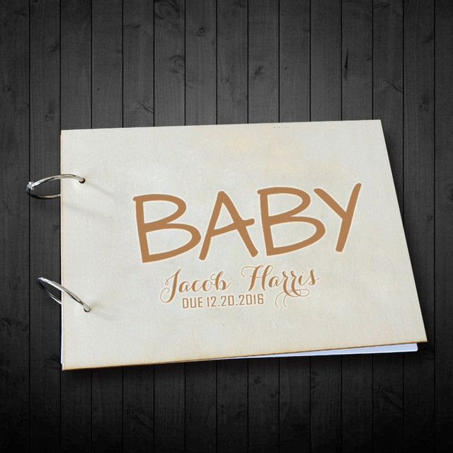 Personalised Rustic Wooden Unique Baby Shower Photo Albumwedding