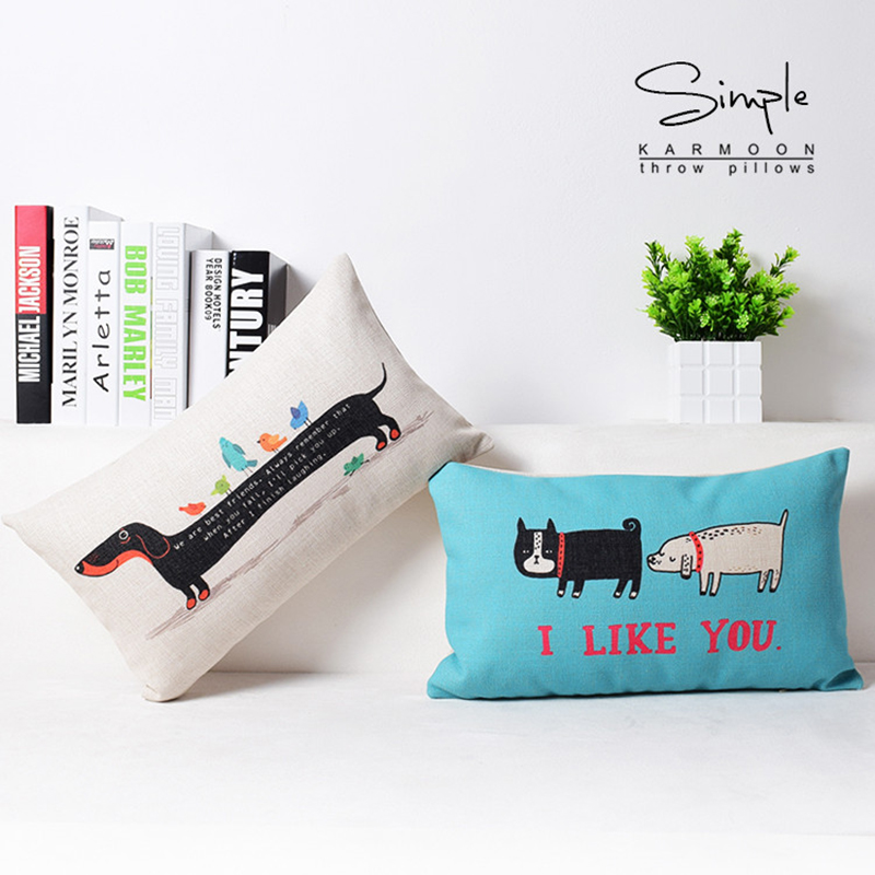 Valentine'S Day Series I Like You Cartoon Style Cushion Linen Animal Pillow <font><b>30</b></font> * <font><b>50</b></font> Cm Decorative Puppy Bedroom Sofa Waist Cover image