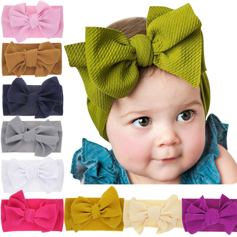 Baby Cute Elastic Headbands Kids Bow Knot Widened Hairbands Hair Accessories Popular Toddler Girls Princess Hair Bands Headwear