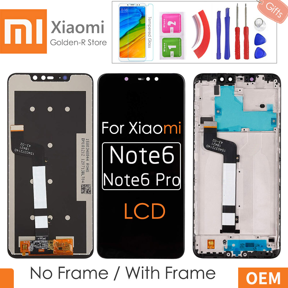 6.26''AAA Quality LCD For Xiaomi Redmi Note 6 pro LCD Display Touch Screen Digitizer +Frame Assembly For Redmi Note6 Pro +Gifts