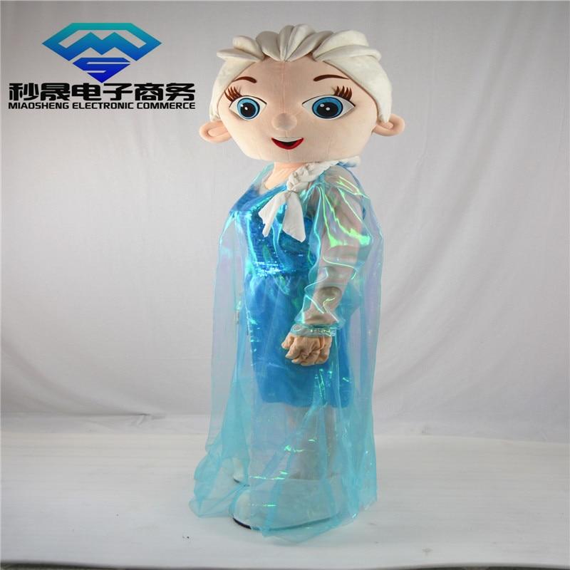 Шифон Эльза взрослый персонаж костюм косплей принцесса Эльза мультфильм талисман костюм вечернее платье с длинным рукавом плюш высокое ка... - 2
