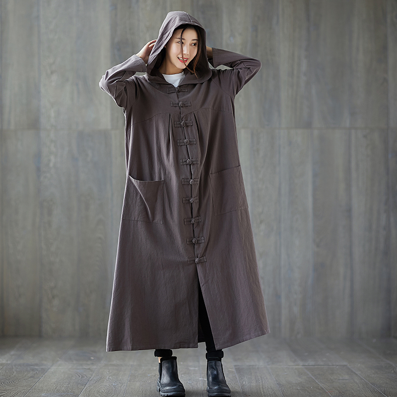Muslim women long cotton linen long robe   trench   with a hood vintage witch style solid color hooded loose coat jn519