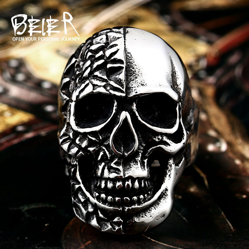 316 LStainless Steel Winged Motorcycle Skull Biker Cool Punk Ring Unique Jewelry