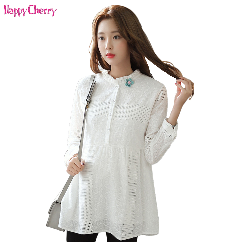 Blouse Pregnant Women Shirts Maternity Long Sleeve Tops Pregnancy Clothing Cotton Spring&Autumn Clothes Fashion Casual Wearing trendy see through off the shoulder long sleeve lace blouse for women