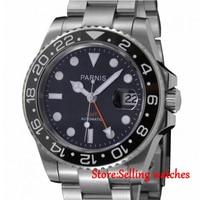 40mm Parnis Automatic Men Watch Sapphire Glass Ceramic Bezel Orange GMT Black Dial watch