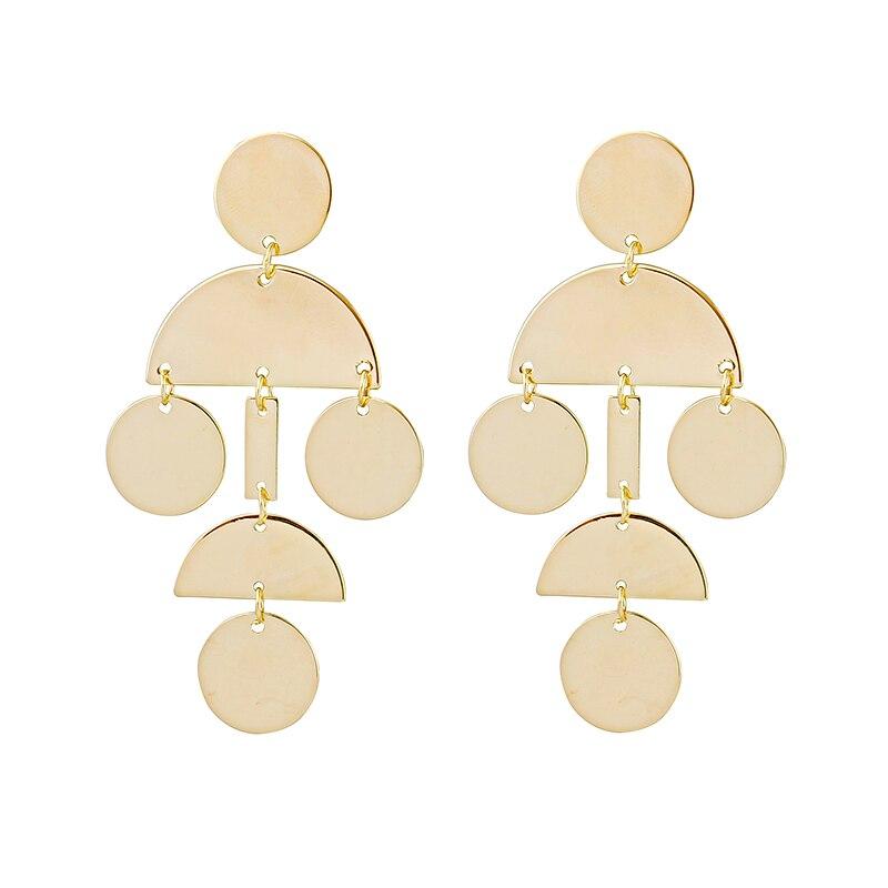 LWONG Gold Color Drop Bar Coin Disc Geometrical Earrings for Women Brass Earrings Jewelry Satement Chandelier Earrings Wholesale
