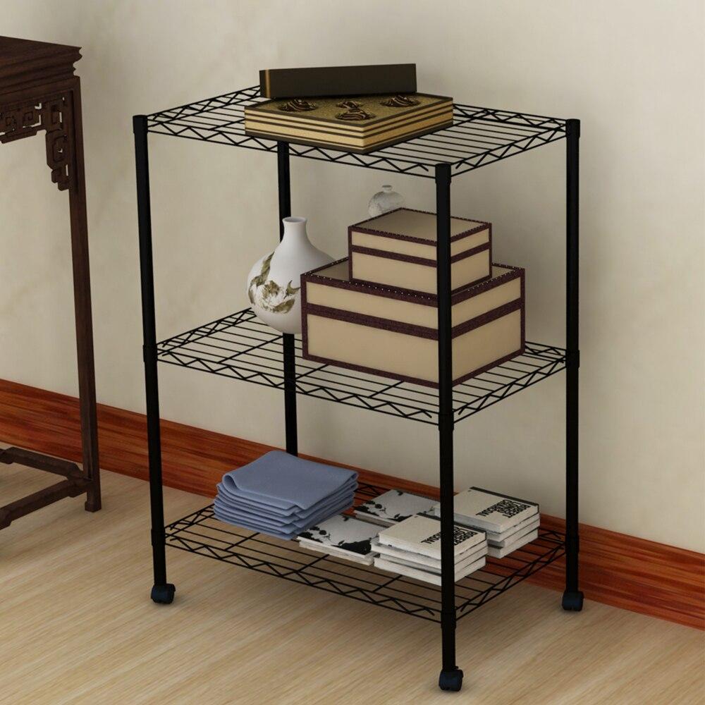 1SET Black Grey color Commercial 3 Tier Shelf Adjustable Steel Wire ...