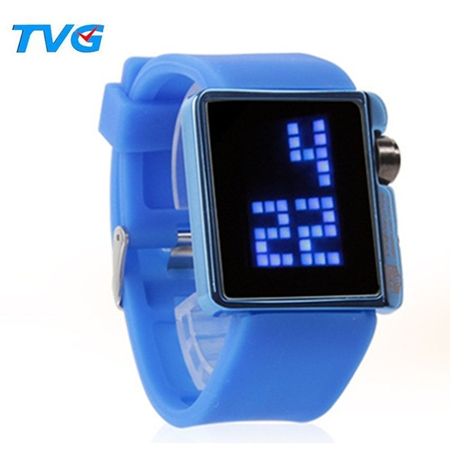 Moda Deportiva Reloj LED Hombres Reloj Digital TVG Marca Cuadrado Impermeable Mujeres Hombres Reloj de Pulsera de Silicona Niños Reloj reloj Ocasional