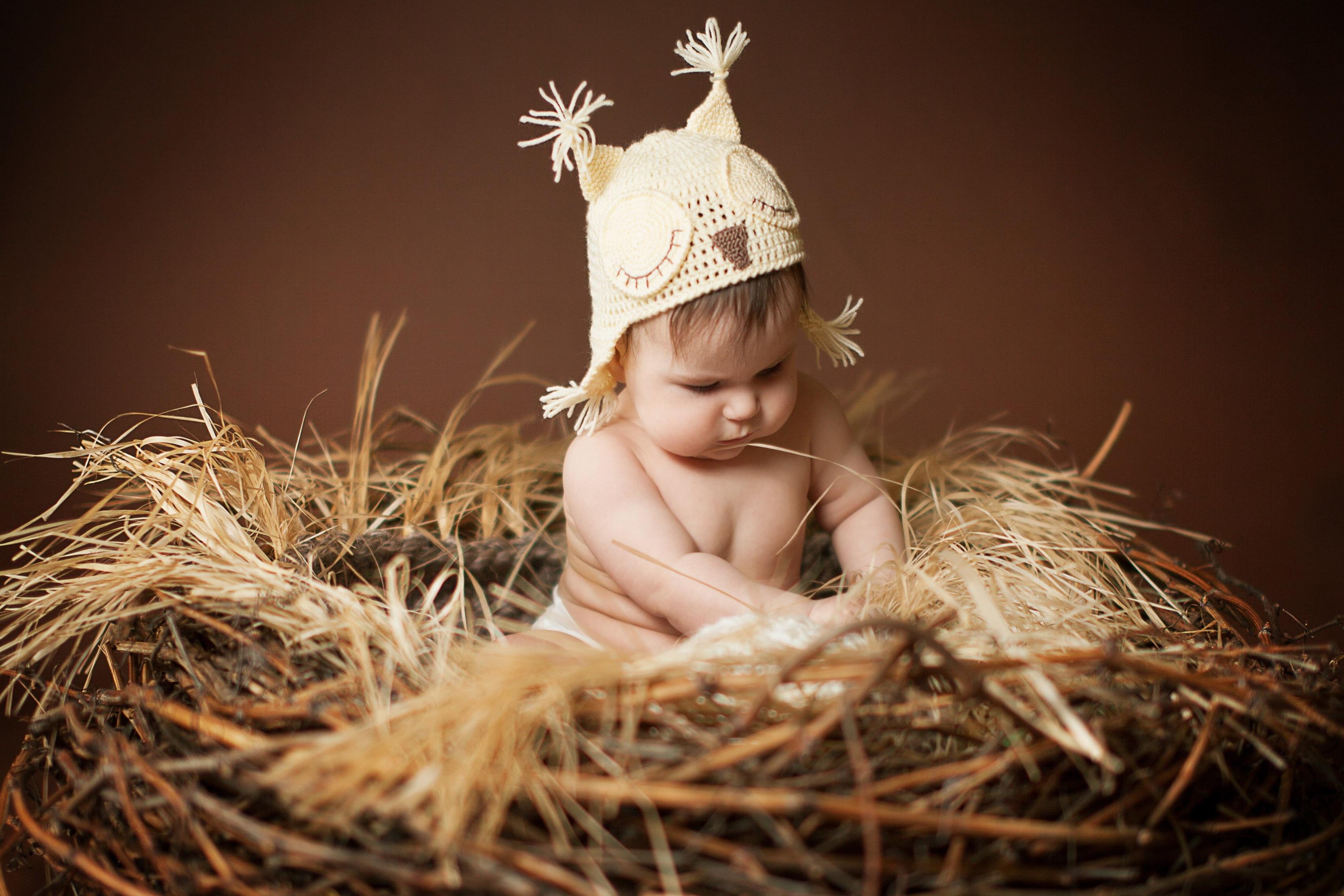 Украшение дома милый ребенок, сидя на гнезде шелк Ткань плакат печать bb115