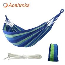 Acehmks السفر التخييم سوينغ المحمولة في الهواء الطلق حديقة شنق السرير Hamac ل مخيم قماش أرجوحة مع الحبال شجرة الأزرق الأحمر 200 سنتيمتر X 80 سنتيمتر