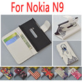 Printing Tiger Flip Wallet Leather case For Nokia N9 Cover with Stand and Bank Card Slots 7 Colors in Stock
