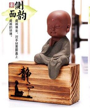 "Marvellous ART # ""CHAN Ataraxia "" Spiritual realm OFFICE home Buddhism Little Monk sand-fired kiln porcelain pottery ceramic ART"