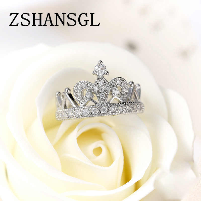 Exquisite Princess Crown Shaped Ring 925 Sterling Sliver CZ Rings for Women Fashion Ladies'Gifts Aneis De Ouro Zirconia Jewelry