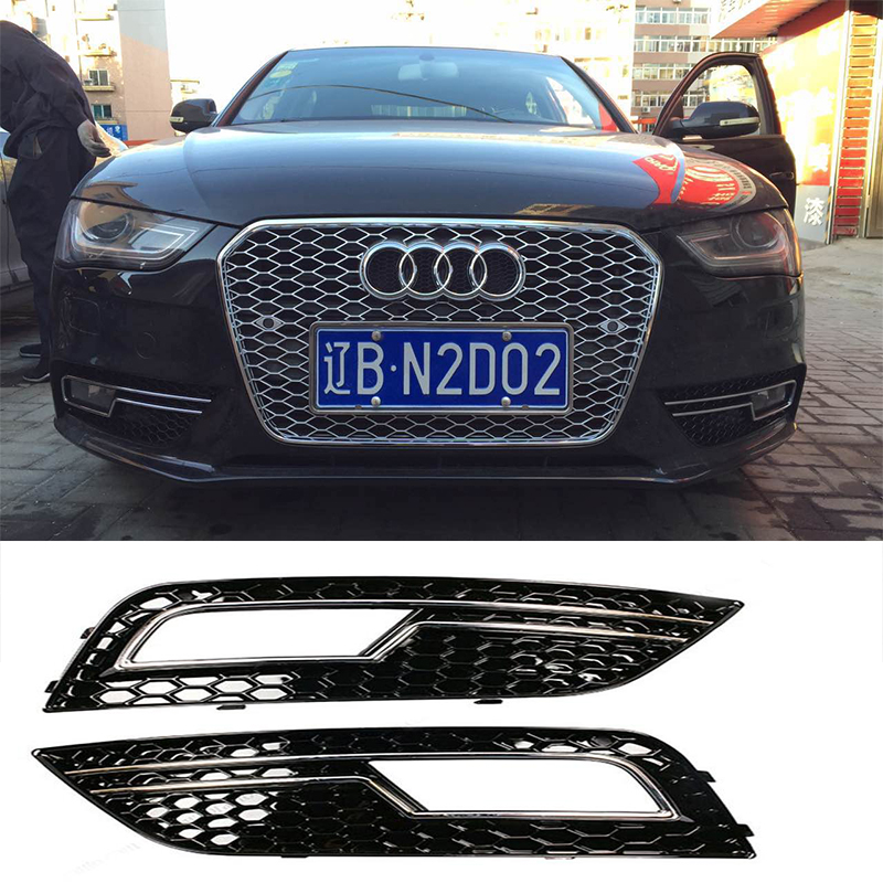 A4 B9 ABS Front Bumper Fog Lamp Masks Grille Cover fog light trim For Audi A4 B9 2013~2015 Standard Bumper front bumper fog lamp cover abs fog light mask cover grill grid with led light grille for audi for a6 c7 2013