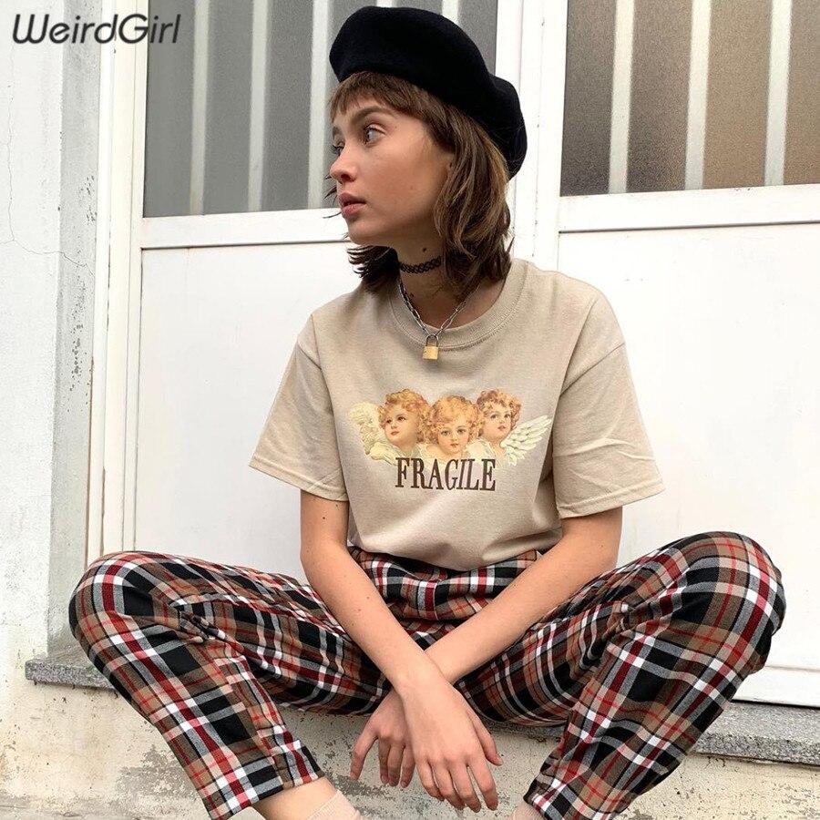 Weirdgirl Women Baby Angel Printing Casual Fashion T-shirts letter Short Sleeve O-Neck Khaki Loose Female Tees Summer New 19 1
