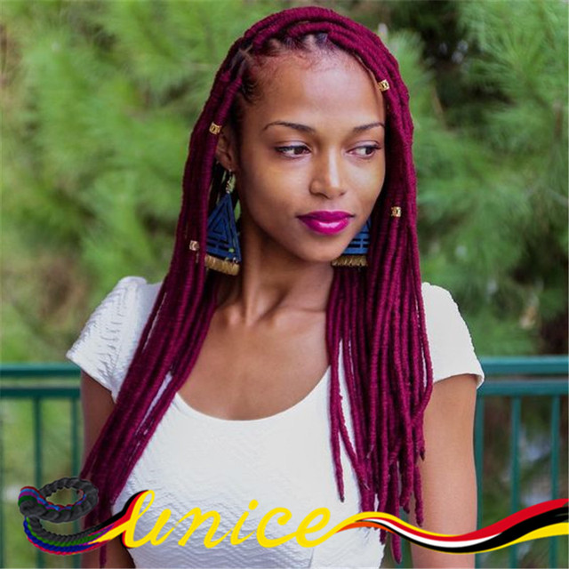 Burgundy Dreadlocks Crochet Braids Hair Extensions Synthetic Faux ...