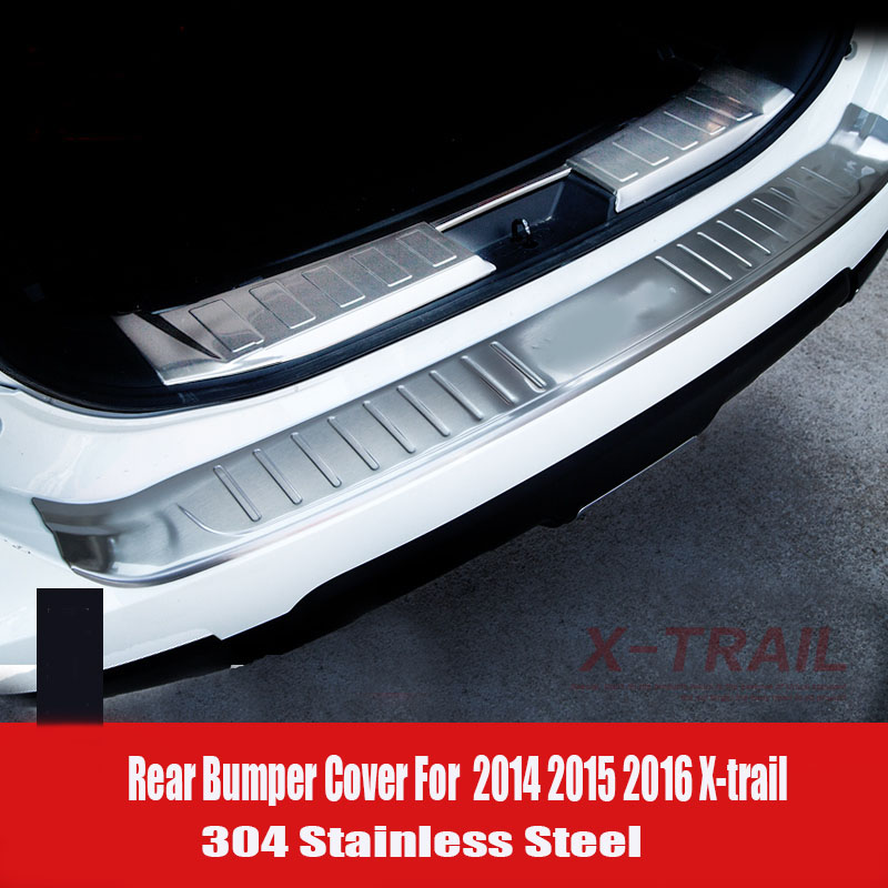 For 2014 2015 Nissan X-Trail X Trail T32 Rogue Stainless Steel Rear Bumper Protector Sill Trunk Guard Cover Trim Car Accessories for nissan x trail t32 2014 2018 car rearguards stainless steel rear bumper trunk fender sill plate protector guard covers trim