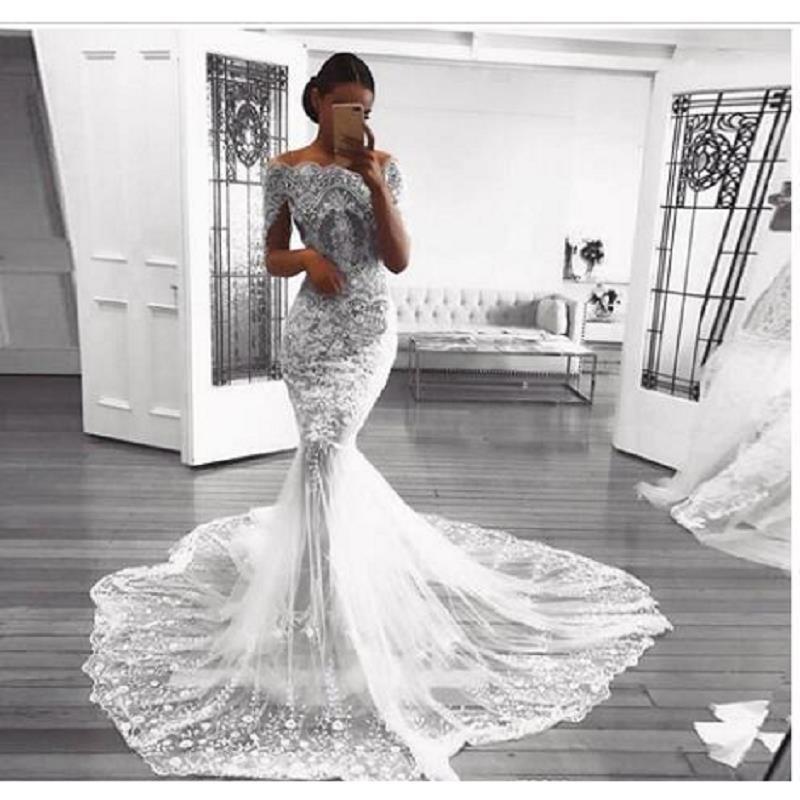 Vintage Mermaid Lace Wedding Dresses 2019 robe de mariee Sweep Train Half Sleeve Handmade Bridal Gowns Custom gelinlik
