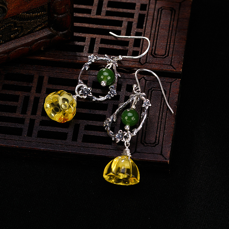 S925 pure silver natural Jasmine honey wax amber lotus ear earrings, retro character, wild women's Earrings accessories цена