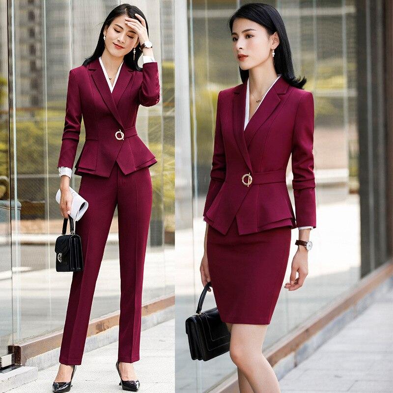 Dames bureau uniformes conçoit des costumes d'affaires avec jupe et hauts 4 pièces automne hiver mode vin travail formel vêtements Blazer