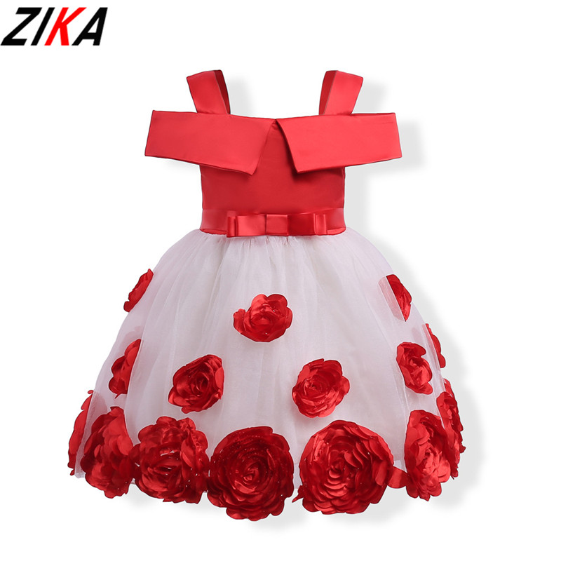 ZIKA Princess Flower Girl Dress Red&Pink Wedding Birthday Party Dresses For Girls Children's Costume Teenager Prom Design 3-10T baby girls white dresses for wedding and party wear girl princess dress kids lace clothes children costume age 3 4 5 6 7 8 9 10