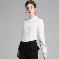 Europe Long Sleeved Chiffon Embroidery Flower Lace Shirt Peter Pan Collar White Blouse Blusas Bordadas Dropship