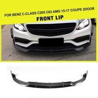 Carbon Fiber Front Bumper Lip Spoiler Kit For Mercedes Benz C205 C63 AMG S Coupe 2