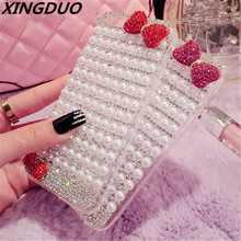 XINGDUO Luxury Pearl Glitter Crystal Diamond Bow case for iphone 5 5s 6 7 8 plus X XS XR MAX Jewelled phone