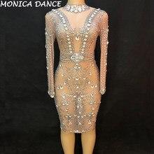 b44b508e7d Mulheres Sexy Palco Vestido de Fios Net Grande Vidro Espumante Cristal  Partido Boate Dançarina Palco Cantora