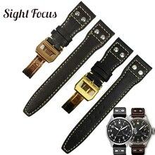 22mm מסמרות המשובץ עגל עור שעון רצועה לiwc Big פיילוט סימן 17 חלק להקת שעון שחור קפה Watchbands חגורת צמיד
