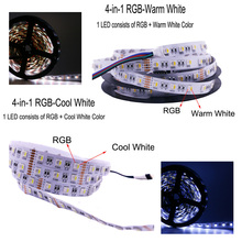 4 In 1 RGB LED Strip Light 5M 300LEDs Flexible for TV Kitchen Ambilight Waterproof RGBW Add Remote Control and Power