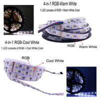 4 In 1 RGB LED Strip Light 5M 300LEDs Flexible Light for LED TV Kitchen Ambilight Waterproof RGBW Add Remote Control and Power