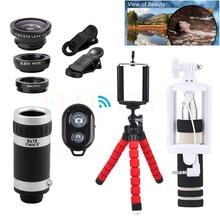 Wholesale prices 8X Zoom Telephoto Lenses Phone lentes Kit+Monopod+Trpod Holder+Telescope Fish eye Wide Angle Macro Lens For iPhon 7 Huawei Meizu