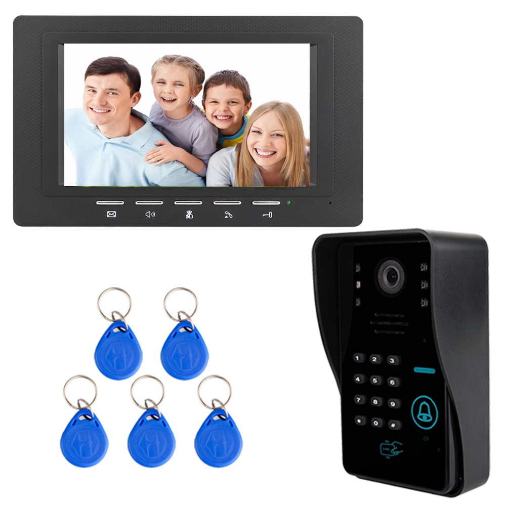 7 Color TFT LCD Video Intercom Door Bell Phone Dual-way Video Intercom with 5pcs RFID ID Card F3367A 125khz rfid card access control video door phone system wired 7 inch color screen video door bell with rfid card reader