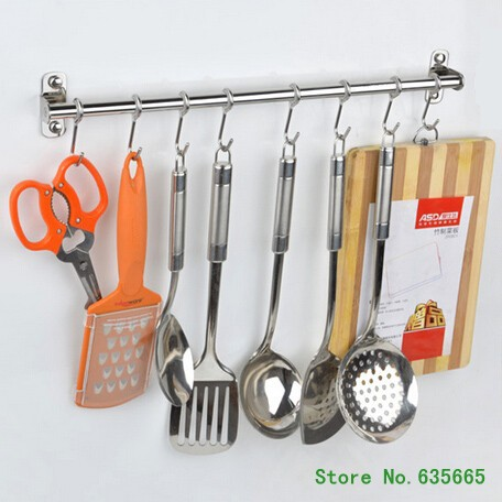 Wall Hooks Stainless Steel Kitchen Shelf Storage Rack Free Removable