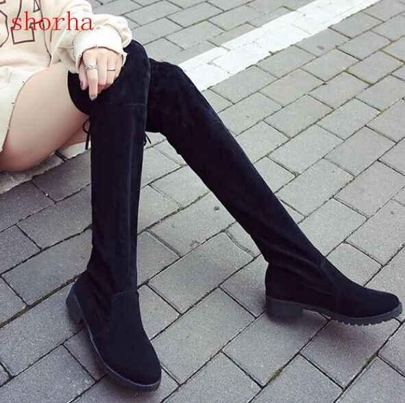 Shorha 2018 ใหม่รองเท้าผู้หญิงรองเท้าสีดำเหนือเข่ารองเท้าบูทเซ็กซี่หญิงฤดูใบไม้ร่วงฤดูหนาว lady ต้นขาสูงรองเท้าขนาด 35-39
