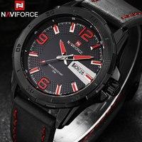 NAVIFORCE 2017 Novos Relógios De Quartzo Homens Luxo Marca Esportiva Casual Negócios 3ATM Relógios Semana Data relógios de Pulso de Couro Preto Vermelho