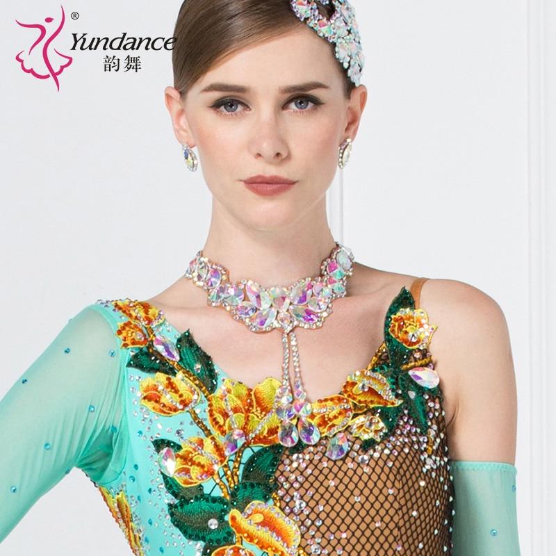Lady Dance Necklace Female Modern Neck Ornament National Standard Neck Flower Diamond Latin Neckwear Necklace Accessories B-6587