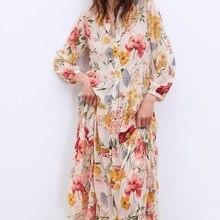 Fashion 2019 New Floral Print Chiffon Dress Women Summer Sweet Lapel Ruffles A-Line Maxi Loose Holiday Beach Dresses