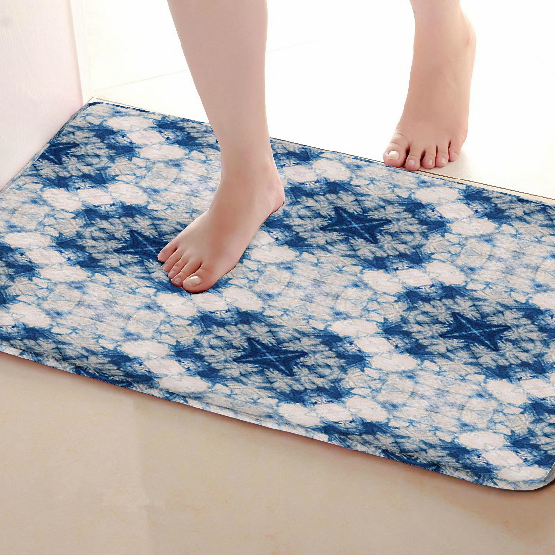 Blue Style Bathroom Mat,Funny Anti Skid Bath Mat,Shower Curtains Accessories,Matching Your Shower Curtain