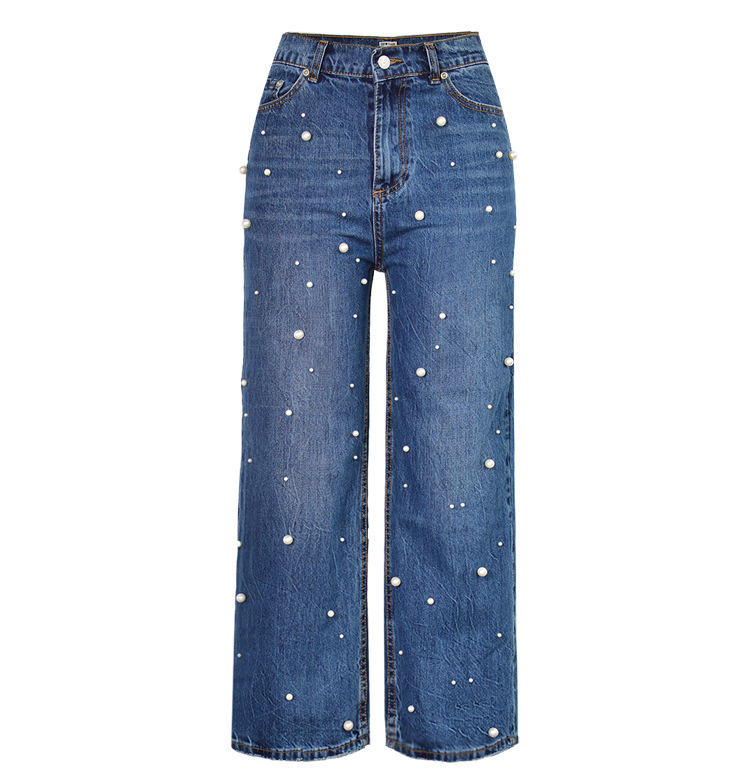 Autumn Fashion New High Waist Wide Leg Jeans Ladies Full Length Pants Pearl Patchwork Loose Straight Casual Denim Trousers 2017 autumn side stripe jeans women casual boyfriend jeans pants roll cuff high rise loose straight wide leg denim long trousers