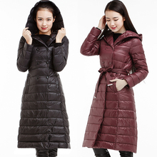 Winter women's ultra long paragraph with a hood down coat plus size thin slim outerwear over-the-knee down coat