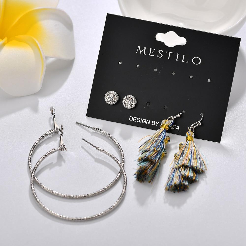 Bohemian Vintage Tassel Hoop Earring For Women Big Round Fashion Earring Set Handmade Exquisite Brincos Female Statement Jewelry in Hoop Earrings from Jewelry Accessories