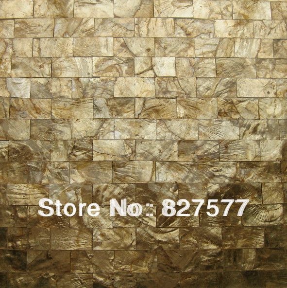 Brick Sea Shell Mosaic Wall Tile Gold Capiz Mother Of