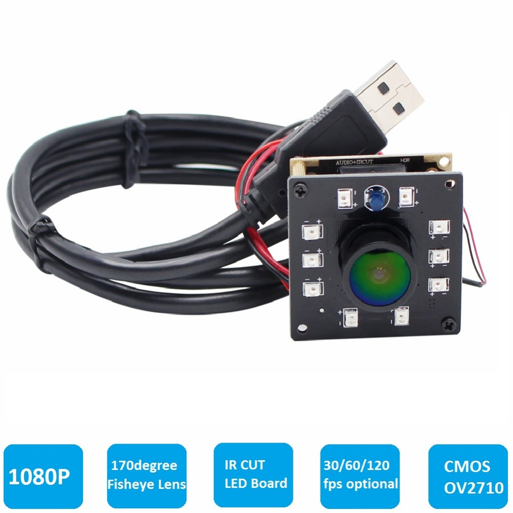 1080P HD Industrial Wide Angle Fisheye Night Vision IR Led Board IR CUT Mini USB Camera Module for Android Linux Winodws Mac OS elp high speed 2mp cmos ov2710 module wide view angle fisheye uvc android linux ir led board night vision hd usb camera 1080p